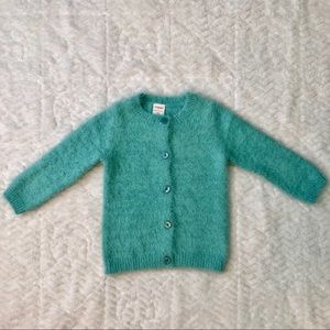 Gymboree Teal Fuzzy Button Down Girls Sweater
